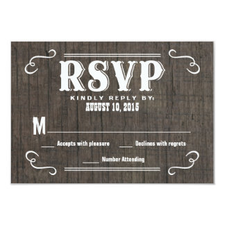 RSVP Old West Wood Wedding Reply Cards 9 Cm X 13 Cm Invitation Card