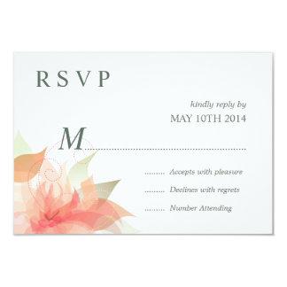 RSVP Orange Ice Floral 2 - Simple 9 Cm X 13 Cm Invitation Card