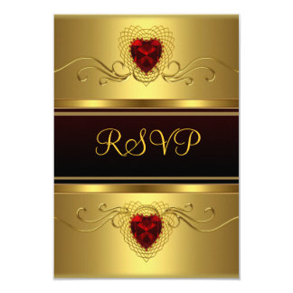 RSVP Party Black gold Red Heart Small 9 Cm X 13 Cm Invitation Card