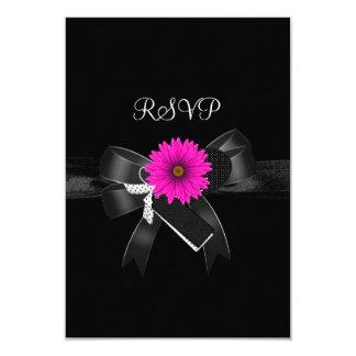 RSVP Party Black White Pink Flower Bow 9 Cm X 13 Cm Invitation Card