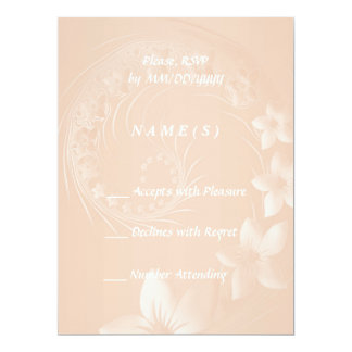 RSVP - Pastel Brown Abstract Flowers 17 Cm X 22 Cm Invitation Card