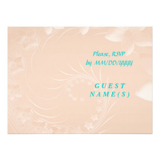 RSVP - Pastel Brown Abstract Flowers Personalized Invitations