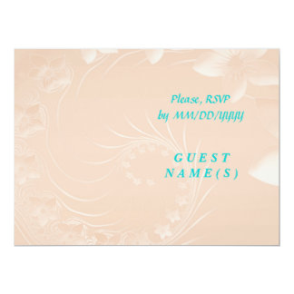 "RSVP - Pastel Brown Abstract Flowers 6.5"" X 8.75"" Invitation Card"