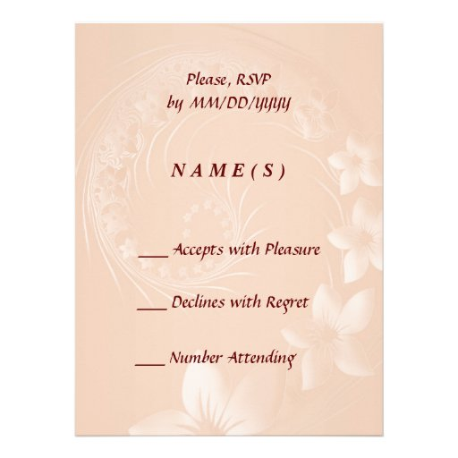 RSVP - Pastel Brown Abstract Flowers Announcement