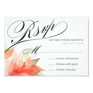RSVP Peachy Orange Floral Deluxe 2-sided 9 Cm X 13 Cm Invitation Card