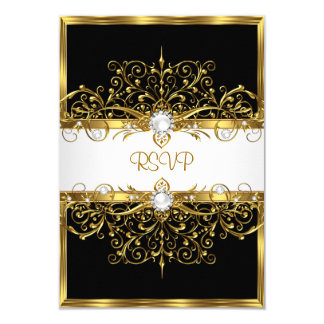 RSVP Pearls Black White Gold Birthday Party Card
