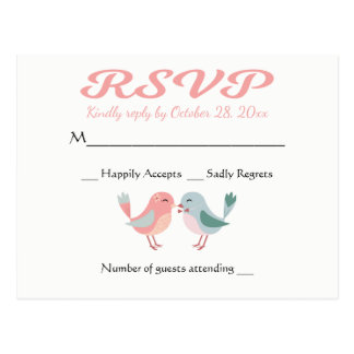 RSVP Pink & Blue Lovebirds Wedding Party Postcard