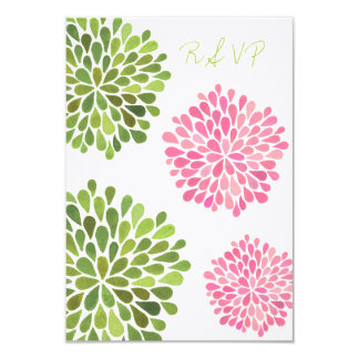 RSVP Pink & Green Floral Blooms Wedding Card