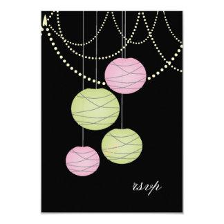 RSVP Pink Green Paper Lanterns Wedding Cards 9 Cm X 13 Cm Invitation Card