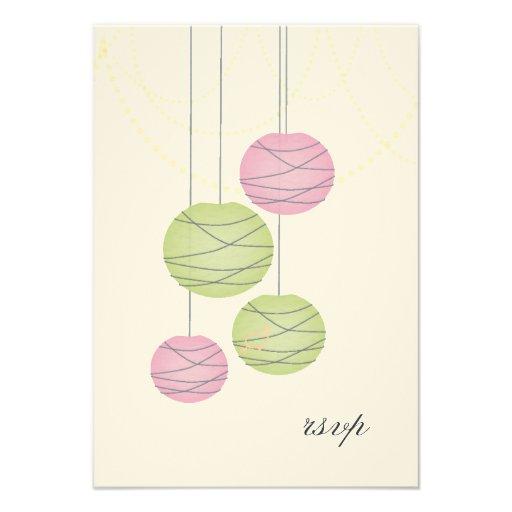 RSVP Pink Green Paper Lanterns Wedding Cards Announcements