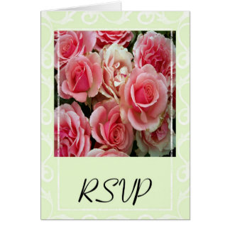 RSVP Pink Roses on Spring Green Greeting Card