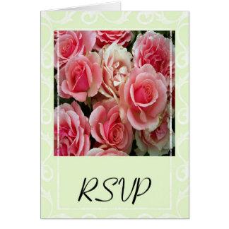 RSVP Pink Roses on Spring Green Card