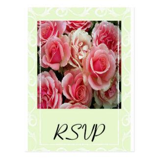 RSVP Pink Roses on Spring Green Postcard