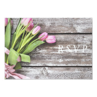 RSVP--Pink Tulips & Wood Card