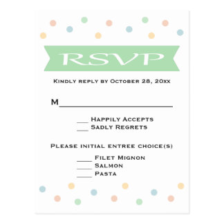 RSVP Polka Dot Mint Green & White Wedding - Menu Postcard
