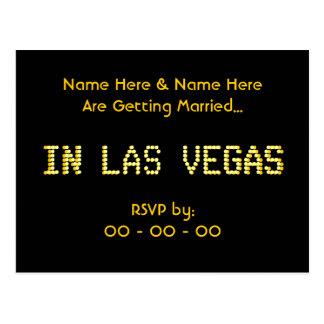 RSVP Postcard. Black & Yellow.  Las Vegas Wedding. Postcard