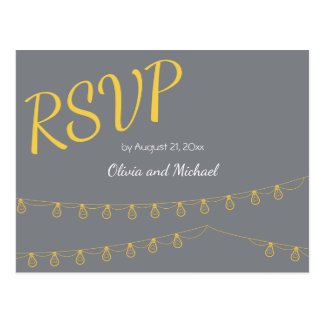 RSVP Postcard for wedding in yellow and gray