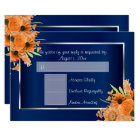 RSVP - Pretty Orange Flowers on Navy Blue Card
