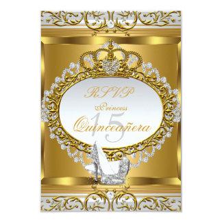 RSVP Princess Quinceanera Elite Gold Shoe 2 9 Cm X 13 Cm Invitation Card