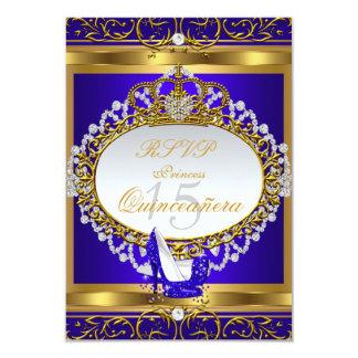 "RSVP Princess Quinceanera Elite Royal Blue Shoe 3.5"" X 5"" Invitation Card"