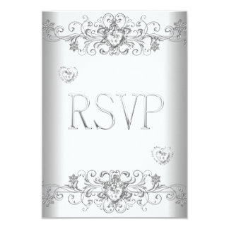 RSVP Pure White Wedding White Diamond Hearts 9 Cm X 13 Cm Invitation Card