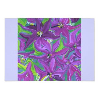 rsvp purple floral design 9 cm x 13 cm invitation card