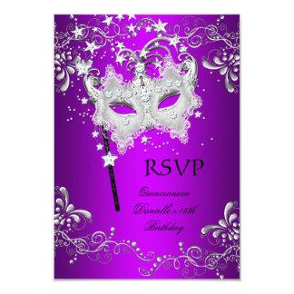 RSVP Purple Quinceanera 15th Birthday Masquerade 9 Cm X 13 Cm Invitation Card