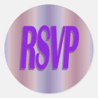 rsvp purple round sticker