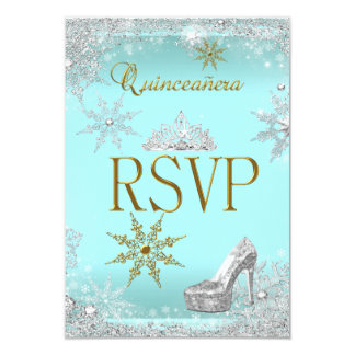 RSVP Quinceanera 15 Silver Teal Gold Elite 9 Cm X 13 Cm Invitation Card