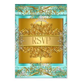 RSVP Quinceañera 15th Birthday Gold Teal Card