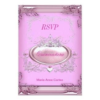 RSVP Quinceañera 15th Birthday Pink White Silver Card