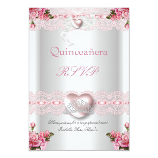 """RSVP Quinceanera 15th Pink Silver Heart Rose 3.5"""" X 5"""" Invitation Card"""