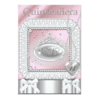 RSVP Quinceanera 15th Pink White Lace Pearl 9 Cm X 13 Cm Invitation Card