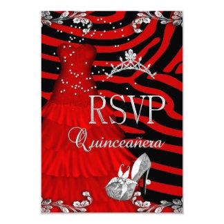 RSVP Quinceanera 15th Zebra Red Dress Shoe 9 Cm X 13 Cm Invitation Card