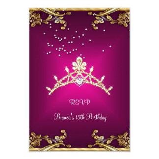 RSVP Quinceanera Birthday Pink Tiara Gold Diamond Card
