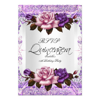 RSVP Quinceanera Silver Pink Lilac Purple Roses Personalized Invitations