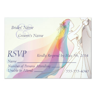 RSVP - Rainbow Bride & Groom Wedding Card