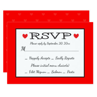 RSVP Red And White Hearts Wedding / Party Card