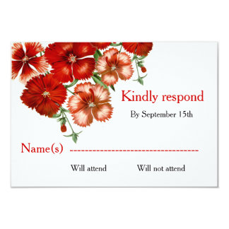 RSVP Red Carnation Flowers 9 Cm X 13 Cm Invitation Card