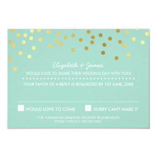 RSVP REPLY cute gold foil confetti pastel mint 9 Cm X 13 Cm Invitation Card