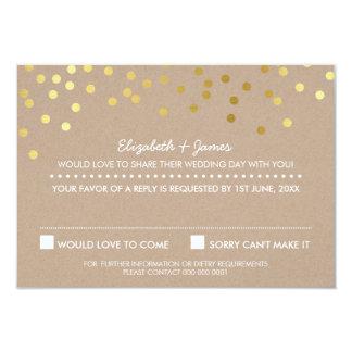 RSVP REPLY cute gold foil confetti response kraft 9 Cm X 13 Cm Invitation Card