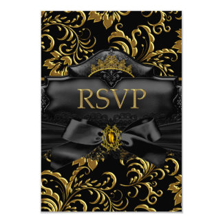 """RSVP Reply Gold Floral Swirl Quinceanera Birthday 3.5"""" X 5"""" Invitation Card"""