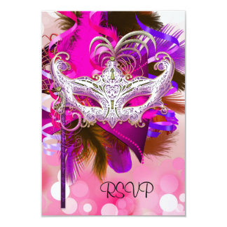 RSVP Reply Mask Black Purple Pink Mardi Gras Card