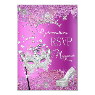 RSVP Reply Masquerade Quinceanera 15th Party Pink 9 Cm X 13 Cm Invitation Card