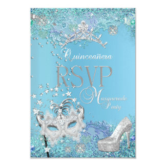 RSVP Reply Masquerade Quinceanera Blue Tiara Shoe 9 Cm X 13 Cm Invitation Card