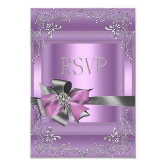 RSVP Reply Party 21st Lilac Pink Silver Grey Card