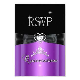 RSVP Reply Party Purple Black Diamond Heart Card