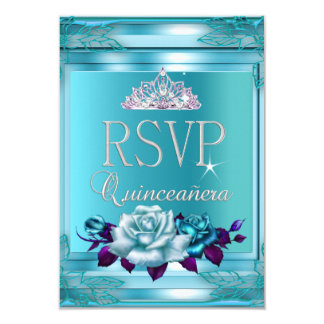 RSVP Reply Quinceanera 15 Party Blue Teal Roses Custom Invitation