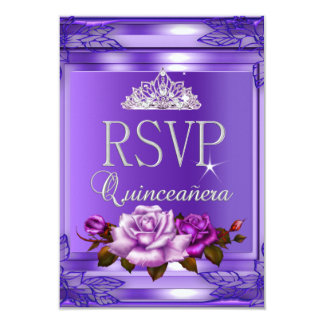RSVP Reply Quinceanera 15 Party Purple Pink Roses Card