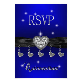RSVP Reply Quinceanera 15th Royal Blue Black Card